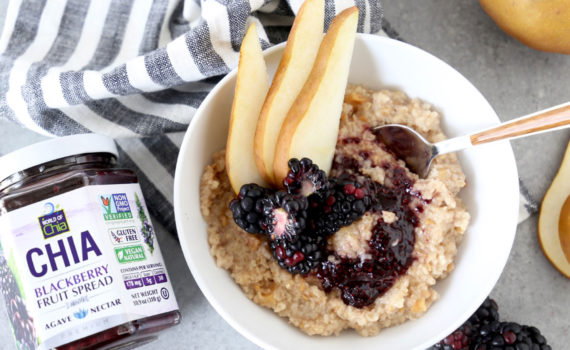 Oatmeal topped with Chia Fruit Spread and Pears recipe