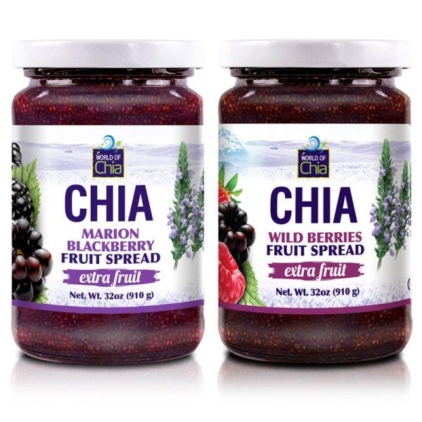 Set 2 Wildberry/Marionberry Chia Fruit Spread 32 Oz Extra Fruit